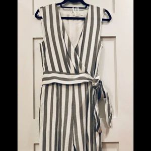 Grey & White striped jumpsuit